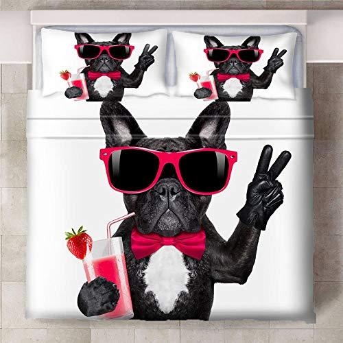 HYBWSO Funda nórdica Impresa en 3D Bulldog francés de Jugo Rosa Blanco Negro Ropa de Cama Cremallera de Suave de Microfibra 140cmx200cm para Dormitorio,2xFundas de Almohada 50x75 cm