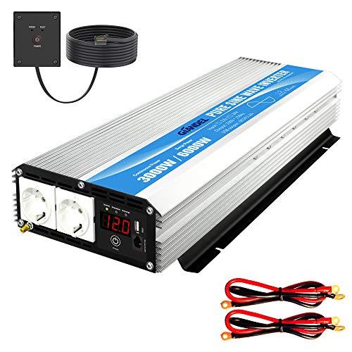 GIANDEL Inverter a onda sinusoidale pura 3000W Convertitore DC 12V a AC 220V 230V con telecomandoler prese AC doppie&Display a LED per uso home di camion RV