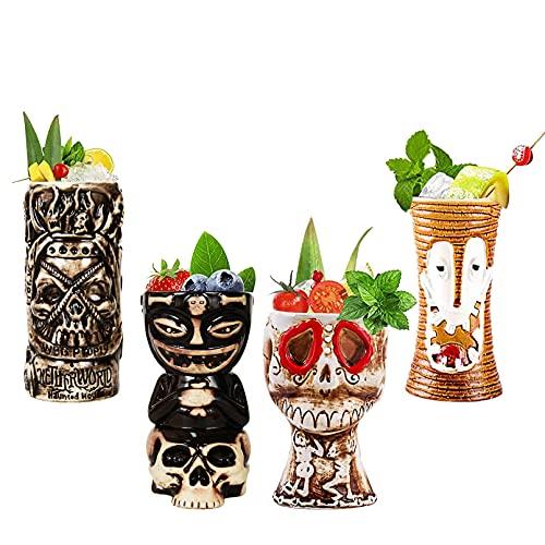 Hawaii Tiki Cup Tiki-mokken Kleurrijke Tiki-keramische mokken Hawaii-cocktailglazen Cocktailmokken en feestdecoratie…