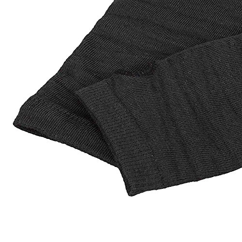Allywit Women's Knitted Arm Warmer Gloves Warm Long Fingerless Mittens with Thumb Hole Gloves (Black) Photo #5
