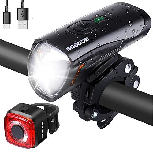 SGODDE LED Fahrradlicht Set, StVZO Fahrradlampe Fahrradbeleuchtung USB Wiederaufladbare wasserdichte Beleuchtung, Superhelle Frontlicht und Rücklicht Rotlicht Licht für Fahrrad