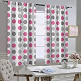 hengshu Room Divider Curtains GeometricTraditional Retro Polka Dots Design European Ancestral Motif Pastel Colors, Darkening Curtains for Bedroom Short Pink White GreyW84 x L84 Inch