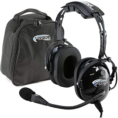 Rugged Air RA200 General Aviation Pilot Headset Features Noise Reduction, GA Dual Plugs, MP3 Music Input and Includes Headset Bag