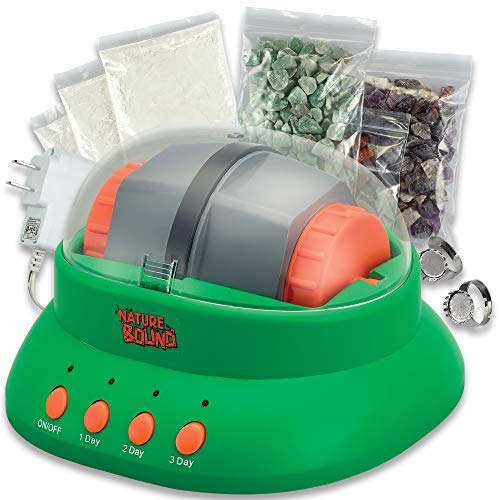 Starter Rock Tumbler Kit for Kids– Includes Rough Gemstones, Polishing Grits, Jewelry Fastenings, and Instructions – Great STEM Science Kit for The Future Geologist, Boys and Girls Ages 8+