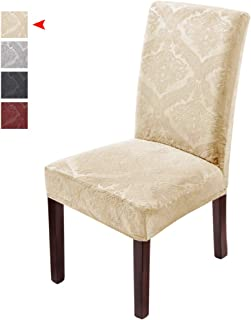 Delight Dining Room Chair Covers,Velvet Stretch Chair Covers for Dining Room,Removable Washable Dining Chair Covers(6 PCS-Beige)