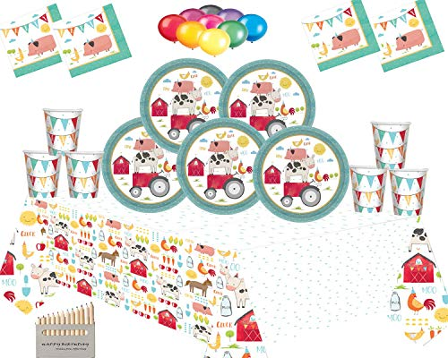 Barnyard Party Farm Animals Decorations Plates Cups Napkins Tablecloth with Balloon Pack-Serves 16 Guests