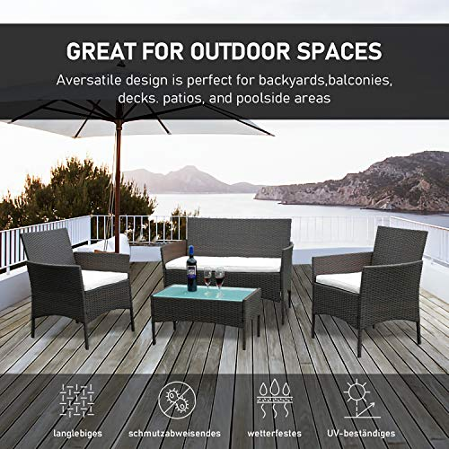 Hengda Polyrattan Lounge Sitzgruppe für 4 Personen inkl. Sitzpolster und Tisch, Braun, Komfortabel Gartenmöbel Terrassenmöbel für Balkon, Garten, Terrasse - 5