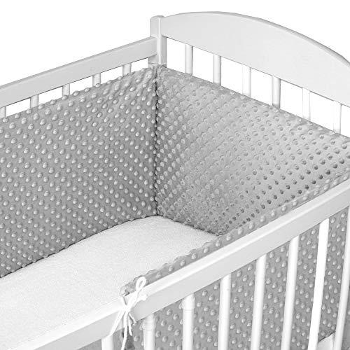 Bettumrandung Nestchen Babybett 60x120 umrandungen - babybettumrandung Bettnestchen für Kinderbett Beistellbett Gitterbett 180 x 30 cm Hellgrau Minky