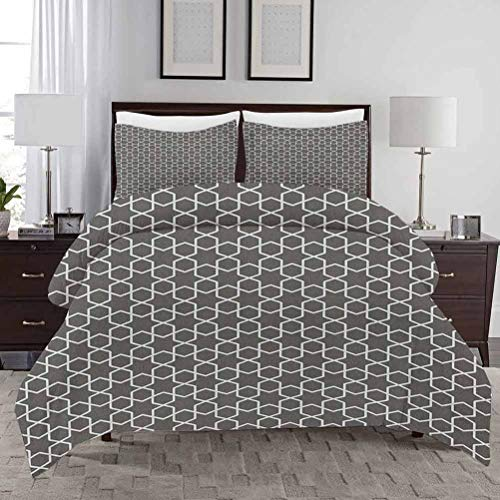 Geometric Duvet Cover Set King Size Monochrome Star Oriental Middle Pattern and Chevron Zigzag Lines Crib Duvet Cover Set Decorative 3 Piece Bedding Set with 2 Pillow Shams Charcoal Grey White