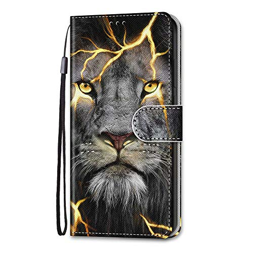 Samsung Galaxy A12 Case, Shockproof Premium PU Leather Shock-Absorption Notebook Wallet Phone Cases with Magnetic Kickstand Card Holders Bumper Flip Protective Cover for Samsung Galaxy A12 Cool Lion
