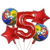 ENXI Globos 5 UNIDS Super Mario Globos 30 Pulgadas Número de niño Chica Fiesta Decoraciones Cumpleaños Mario Luigi Bros Mylar Globos Decoración ( Color : Light Grey )