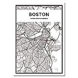 Mapa De La Ciudad De Fama Mundial Nueva York Londres París Póster Arte De La Pared Lienzo En Blanco Y Negro Mural Pintura Sin Marco N1404 50X60Cm