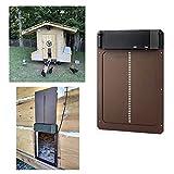 Puerta automática para gallinero con sensor de luz,Puerta Impermeable Para Gallinero,tecnología Plug and Play, fácil de instalar,temporizador de apertura retardada por la noche y por la mañana.