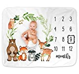 Woodland Baby Monthly Milestone Blanket, Woodland Animals Baby Growth Chart Monthly Blanket, Woodland Forest Nursery Decor, Includes Marker (50'x40')