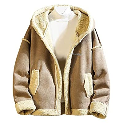 Forthery-Men Trench Coat Men's Winter Double Breasted Windproof Jacket Shearling Lined Long Suede Jacket Outwear(Khaki,L)