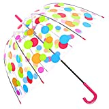 Kung Fu Smith Polka Dots Dome Umbrellas for Women & Girls, Windproof Big Clear Bubble Umbrella