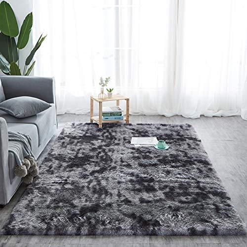 KMECO Alfombras Salon Alfombras Salon Modernas Alfombra Shaggy De Pelo Largo Alfombras Ultra Suaves para Interiores,Gris Oscuro, 160x230cm