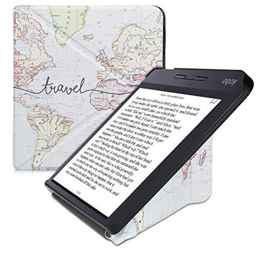 kwmobile Funda Compatible con Kobo Libra H2O - Carcasa magnética de Origami para e-Book - Mapa Mundial Negro/Multicolor