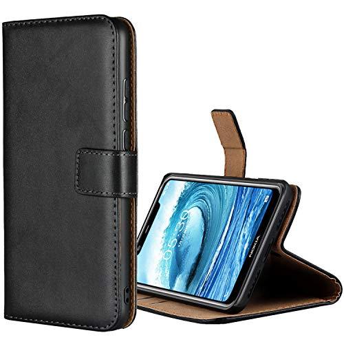 Aopan Nokia 5.1 Plus Hülle, Flip Echt Ledertasche Handyhülle Brieftasche Schutzhülle für Nokia 5.1 Plus, Schwarz