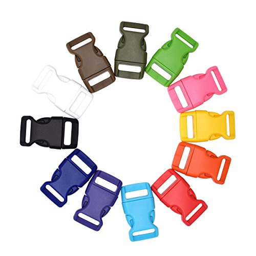 Colour Mix 15mm Plastic Curved Side Release Buckles for Paracord Bracelets 5/8' Clasp Pack of 12