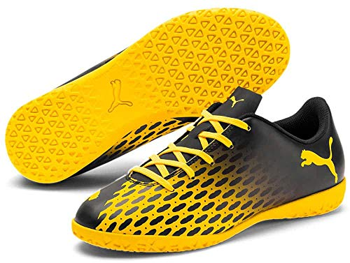 Puma Spirit III IT Jr, Zapatillas de fútbol Sala Unisex niños, Black-Ultra Yellow, 28 EU