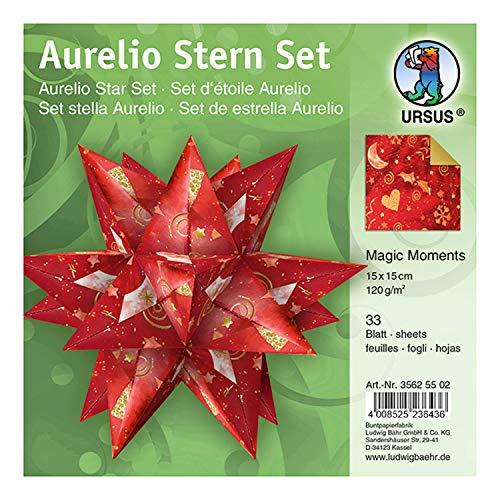 URSUS Aurelio Stern Magic Moments Star Night papel creativo (33 hojas de 15 x 15 cm, 120 g/m², impresas por ambos lados), diseño de estrella, color rojo y dorado, talla única