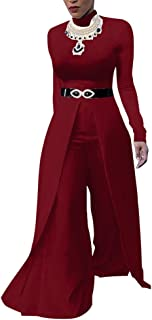 Fadvanes One Piece Jumpsuits for Women Long Sleeve Elegant for Party Wide Leg Flare Long Romper Pants Outfit