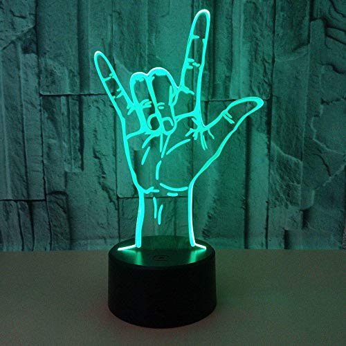 Nachtlampje Ik hou van je taal, 3D nachtlampje illusie licht 7 kleuren met USB-kabel slaapkamer decoratie cadeau voor kinderkamer beste plank