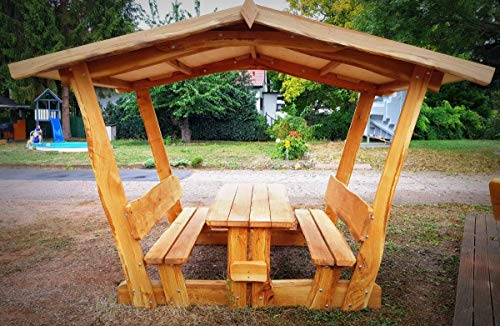 überdachte Sitzgruppe I Waldschänke Klaus I aus massiver Eiche | Made in Germany | Gartenmöbel I Outdoormöbel I Sitzgarnitur I Freisitz I Made in Germany