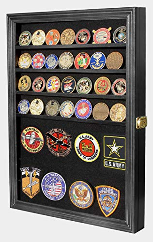 Display Case Box Wall Cabinet Shadow Box for Challenge Coin, Medals, Pins, Badges, Ribbons, Insignia, Poker Chip, Political Campaign pins Buttons (Black)