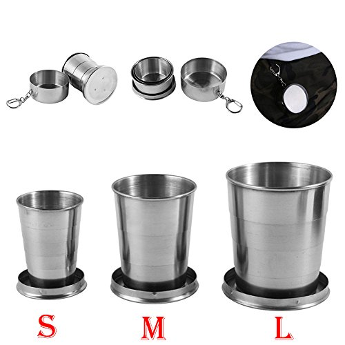 Stainless Steel Camping Mug Camping Folding Cup Portable Outdoor Travel Demountable Collapsible Cup With Keychain 75ml 150ml 250ml (L)