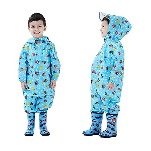 Baogaier Impermeables para Niñas Niños Chubasqueros Chaquetas Capa de Lluvia Encapuchado Mono de Bolsillo Azul Mono Reflectante Abrigos Impermeables Unisex Bebé 3-4 años - Azul
