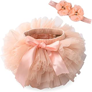 Anbaby Baby Girls Tutu Bloomers Toddler Tutu Skirt Diaper Cover and Lace Headband Set