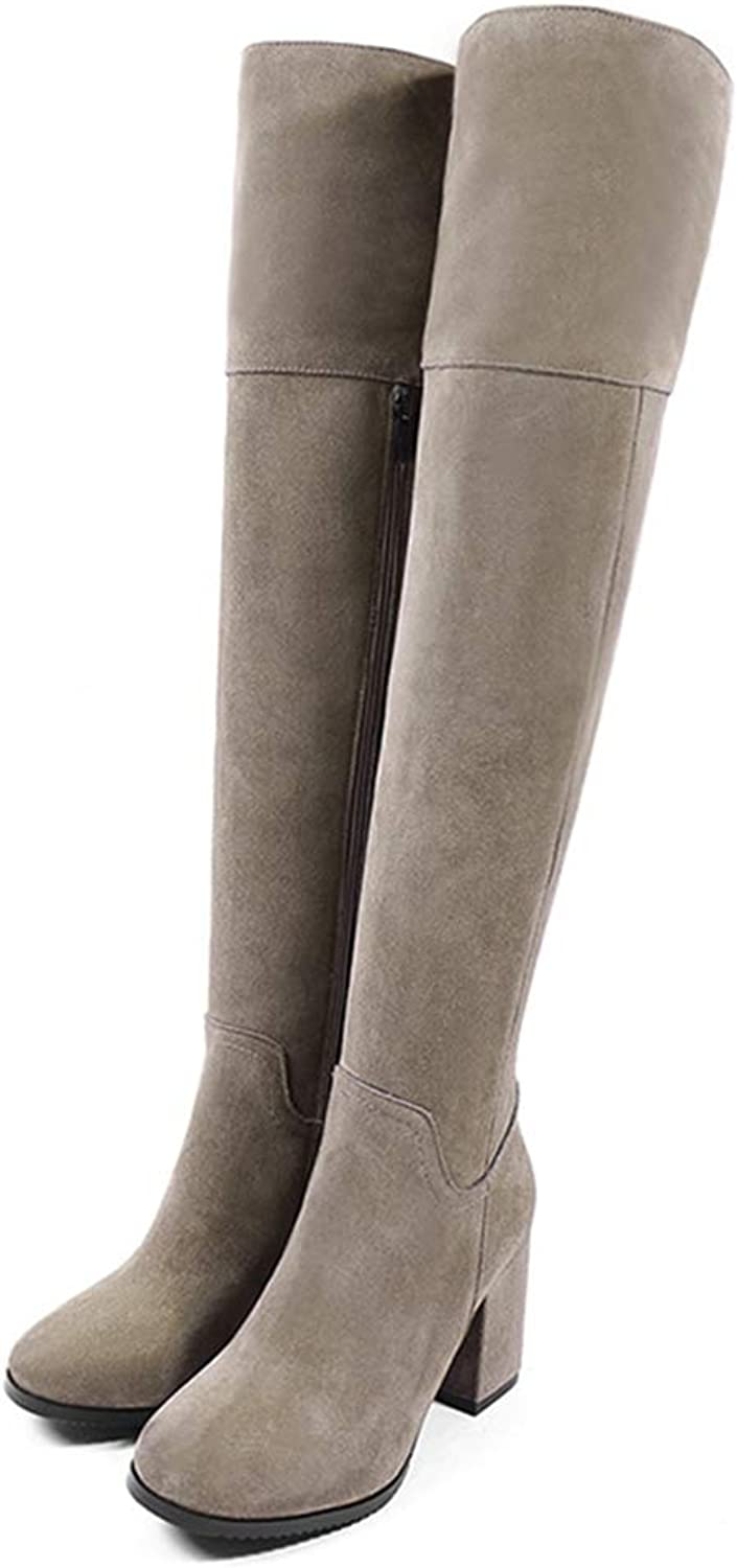 GEORPE Thigh High Long Boots Cow Suede Leather Plush Winter Female Heeled Warm Boots