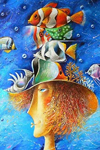 NOBRAND Pintar por numeros Adultos DIY Pintura Digital para Colorear Acrílico Adulto Abstracto Océano Peces y Rostro Humano Sin Marco 40x50cm WYLUWLI Pintura Digital