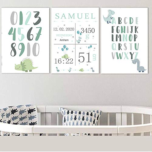qggbgv Cartel Personalizado de Nacimiento Personalizado ABC Alfabeto Pared Arte Lienzo Pintura número guardería imágenes de Pared niño bebé decoración de la habitación
