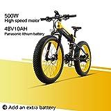 LANKELEISI XT750 Plus 48V10AH 500W Motor Nueva Bicicleta eléctrica Potente 26 '' 4.0 Venta al por Mayor de Llantas Ebike 27 Speed Snow MTB Bicicleta eléctrica Plegable (Amarillo + 1 batería Extra)