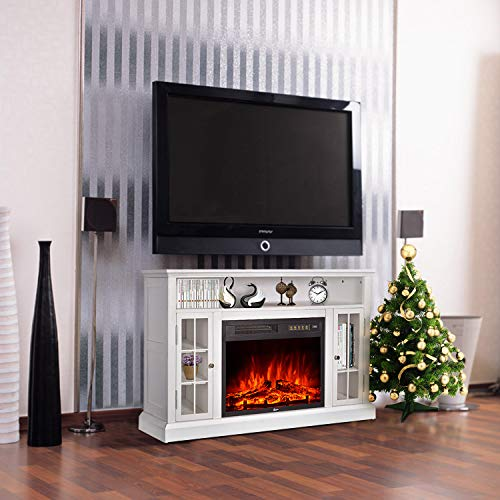 GMHome 46 Inches TV Stand Electric Fireplace Insert Media Console with Bookcase with Remote ...