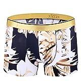YUHUALI Intimo da Uomo Elegante Minimalista Boxer Sciolto Pantaloncini di Taglia Corta Biancheria Intima a Quattro Angoli Stile 04 L