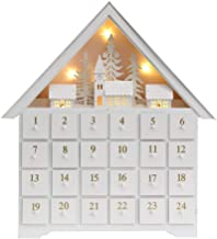 PIONEER-EFFORT Christmas White Wooden Advent Calendar House with 24 Drawers and Led Lights (Large) (16'' x 18'' x 2.7'')