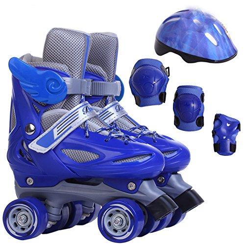 ZCRFY Zweireihige Skates Voller Satz Einstellbare Größe Kinder Rollschuhe Vier Rollschuhe Für Männer und Frauen,BlueA-S