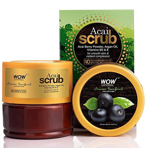 WOW Amazon Rainforest Collection - Rain Forest Acai Body Scrub - No Parabens, Mineral Oil, Silicones and Color, 200 ml