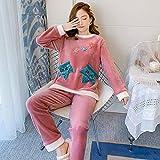 Conjunto De Pijamas Para Mujeres,Invierno Grueso Caliente Franela Pijama Ropa De Dormir Manga Larga De Manga Larga Jersey De Noche Dulce Hojas Preciosas De Coral Rosa Terciopelo Homewear Pijamas Set,4