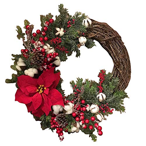 Artificial Poinsettia Wreath|Fake Berry Pinecone Wreath|Handcrafted Garland Design|11.8in Silk Leaves Wreath with Cotton|for Christmas Front Door Outdoor Indoor Garden Office Wedding Decor