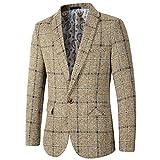 Men's Casual One Button Regular Fit Blazer Suit Jacket (603 Khaki, L)