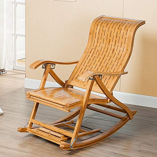 YLCJ Multipositie recreatieve lounge schommelstoel in bamboe type S Siesta stoel voor ouderen Lazy stoel met verstelbaar kussen in 6 niveaus Opvouwbaar