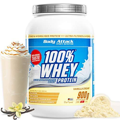 Body Attack- 100% Whey Protein,900g, Vainilla, proteína en polvo extra cremosa con hidrolizado y BCAA's, apoya el desarrollo muscular y las dietas, para todos los atletas- Hecho en Alemania
