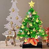 Weihnachtsbaum klein 50cm, künstlicher Christbaum mit bunter batteriebetriebener Lichterkette, Baumspitze, Kugeln, Schelle, Beeren, Kiefernzapfe, Weihnachtsdeko, Mini Tannenbaum für Tisch, Büro - 10