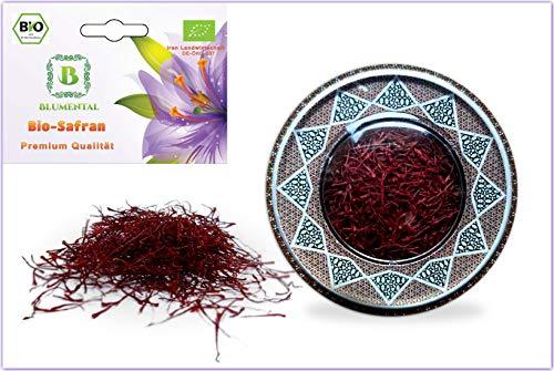 BLUMENTAL Bio-Safran , 100% natürlich, Premium Qualität ganz rot Safranfäden mit deutschem Bio-Zertifikat (2 gr)