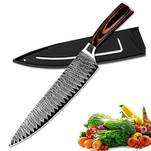 Cuchillo del cocinero 8'Cuchillo de chef profesional afilado Cuchillo de cocina de acero inoxidable de alto contenido de carbono Cuchillo de lijado de cuchillas Cuchillos de corte